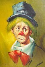 E Vintage Sad Clown Portrait Painting Signed Higgin Framed Art