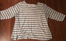 Croft&Barrow 3/4 Sleeve Black/White/Tan Striped Top Womens 2X