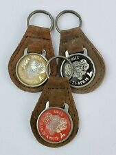Lot of 3 Vintage Aries leather keychain keyring metal back