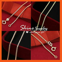 18K PLAIN GOLD GF SOLID MENS WOMEN GIRLS KID BOX CHAIN NECKLACE FOR PENDANT GIFT