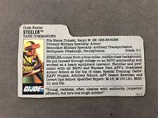 GI Joe Red Back Filecard 1991 Mail Away Steeler