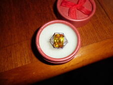 CREATED YELLOW SAPPHIRE CREATED DIAMOND DRESS RING 14mm *10mm SILVER PLATED