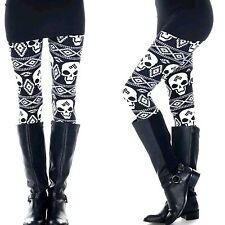 PLUS Size Butter Soft Skull Leggings Black White Day of Dead Print Curvy Plus