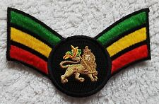 RASTA SERGEANT STYLE STRIPES PATCH Embroidered Cloth Badge The Lion of Judah Jah
