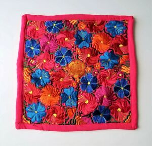 Embroidered Pillow Case - Mexican Textiles - Pink - Home Decor