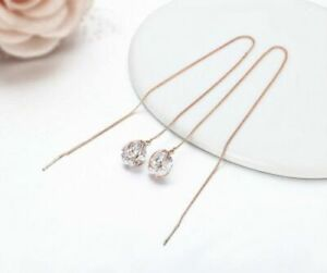Simulated Diamond & Rose Gold Plated Threader 10mm Dangle Long Chain Earrings