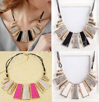 Elegant Women Bubble Chain Choker Crystal Chunky Statement Bib Necklace Jewelry