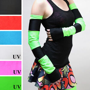 Striped Arm Warmers Green Anime Costume Black Gloves UV Glow Elbow Length Cyber