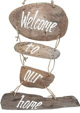 Driftwood Hanging Decoration Welcome Home Plaque Sign Antique Style Handmade