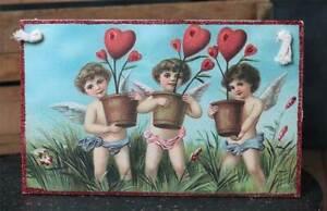 "Valentine's Day Decor Vintage Postcard Hang-up Sign Primitives by Kathy 6x9.5"""
