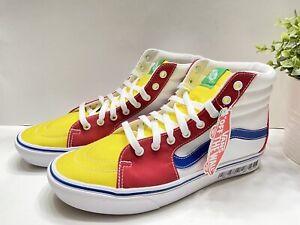 Vans Sk8-Hi Pro Hi Top Skateboard Men's Sneakers Shoes White/Yellow/Red/Blue 10
