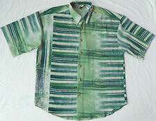 Striped Green Short Sleeve Louge Shirt - Medium Mens Vintage Rayon Mod