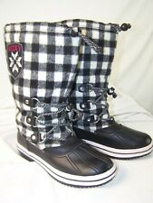 Roxy Go Snow Mid Calf Vegan Black White Plaid Winter Rain Snow Boots Size 7