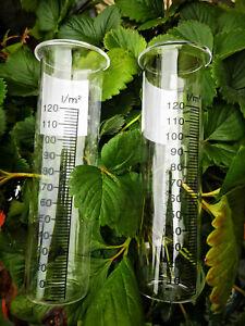 2 Ersatzglas Glaseinsatz 15 x 4 cm Regenmesser Niederschlagsmesser Reagenzglas