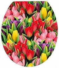 Tulip Novelty floral pattern Toilet Seats with fitting pack