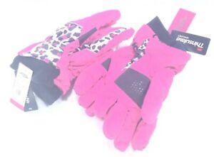 2 MINUS ZERO Womens Ski Gloves Size 7-16 Pink Fuchsia Animal Print Thinsulate 3M