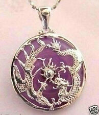 phoenix pendant necklace #209 Nice violet jade dragon