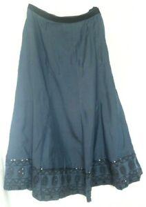 "Womens Marks and Spencer Panel Skirt Size 14 Waist 32"" midi Slate Blue New"