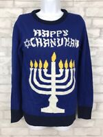 Happy Chanukah Menorah Blue Festive Women Sweater Holiday Size Small