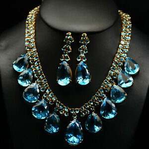 JEWELRY SET NATURAL VVS SWISS BLUE WITH BEAD BLUE TOPAZ 925 SILVER NECKLACE