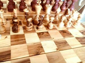 Exquisite OliveWood Chess Pieces Set HandCrafted In Bethlehem Holy Land 5in King