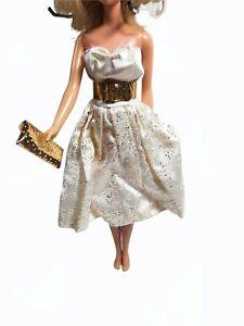 "Barbie vintage ""Party Date""Outfit #958 White Dress Gold Belt Purse 1963"