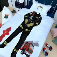 X-mas Gift Fireman Fire Truck Kids Children Bedding Duvet Quilt Cover+Pillowcase