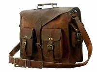Genuine Messenger Bag Leather Laptop Bags Computer Satchel Briefcase 18 inch