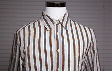 Men's Just Cavalli Sheer Striped Light Gray Multi Colored Button Up Shirt Sz 54