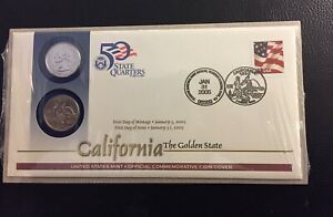 U.S. MINT 2005 CALIFORNIA QUARTERS 1ST DAY COVER.COINS & STAMP SET NEW SEALED