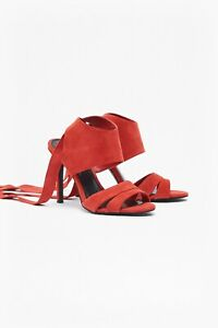 French Connection Leather Sandals - UK: 6 - Red Suede - Ankle Wrap BNWT RRP £110