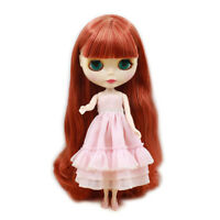 """12"""" Neo Blythe Doll From Factory Nude Doll Copper Red Double Color Long Hair"""