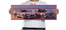 BMW CSL 3.0 - 30x10 Inch Panoramic Canvas - Framed Picture Print Wall Art