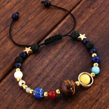 Chic Natural Stone Bracelet Galaxy Solar System Eight Planets Theme Beaded Gifts