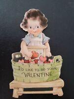 Vtg 1930s-40s Valentine Greeting Card Girl wash bucket hearts(Gibson/JG Scott?)