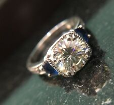 Round 2.00 ct Off White Yellow Moissanite Engagement 925 Sterling Silver Ring