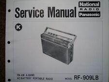 NATIONAL Panasonic RF-909LB Radio Portatile Manuale di servizio diagramma di cablaggio parti