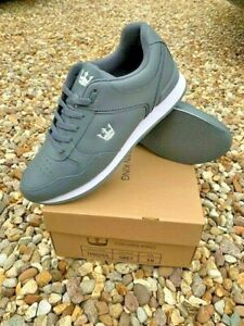 CROWN KING MENS/WOMENS  LEATHER BOWLS SHOES GREY LACE NEW