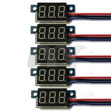5 PCS Mini DC 0-100V 3-Wire Voltmeter Blue LED Display Meter Digital Panel Meter