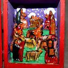 Christmas NATIVITY MEXICO DIORAMA CRECHE Wood Box Opens RANA'S STORE USA SELLER