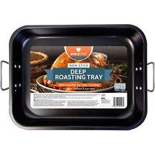 "15"" x 11"" Large Non Stick Deep Roating Tray Pan Dish Tin Roast Baking Oven"