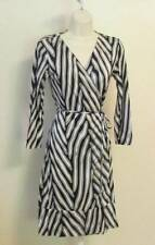 Diane von Furstenberg Naoki Herringbone midnight navy blue wrap dress 12 white