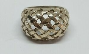 Sz 7 Sterling Silver Basket Weaved Dome Ring FREE SHIPPING