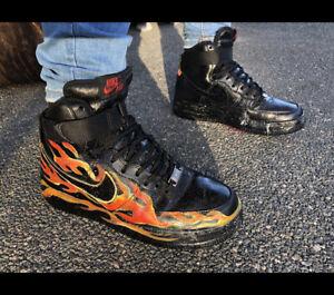 Nike HIGH AIR FORCE 1 size 6 black CUSTOM Flame 🔥🖤🔥
