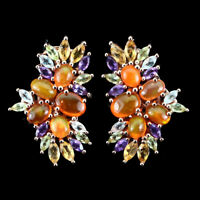 Unheated Oval Orange Fire Opal Amethyst Citrine Gems 925 Sterling Silver Earring
