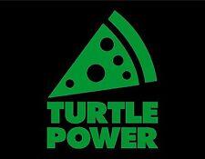 "TURTLE POWER VINYL WINDOW DECAL GREEN 5"" X 4"" PIZZA NINJA"