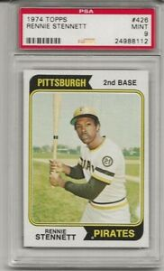 SET BREAK - 1974 TOPPS # 426 RENNIE STENNETT, PSA 9 MINT, PIRATES, ONLY 6 HIGHER