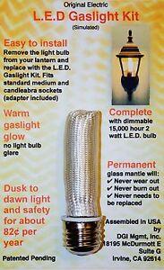 L.E.D. Electric Gaslight Conversion Kit for Outdoor Electric Lanterns