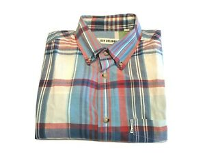 Ben Sherman Shirt Checked Size small blue and red long Sleeve Size button down