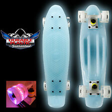 "GLOW BLUE IN THE DARK LED LIGHT 22"" Mini Plastic Cruiser Penny Style Skate board"